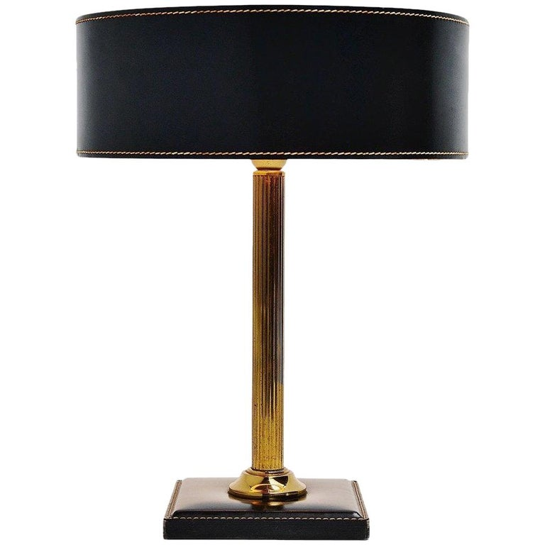 Jacques Adnet style Leather Clad Lamp, France, 1960 For Sale
