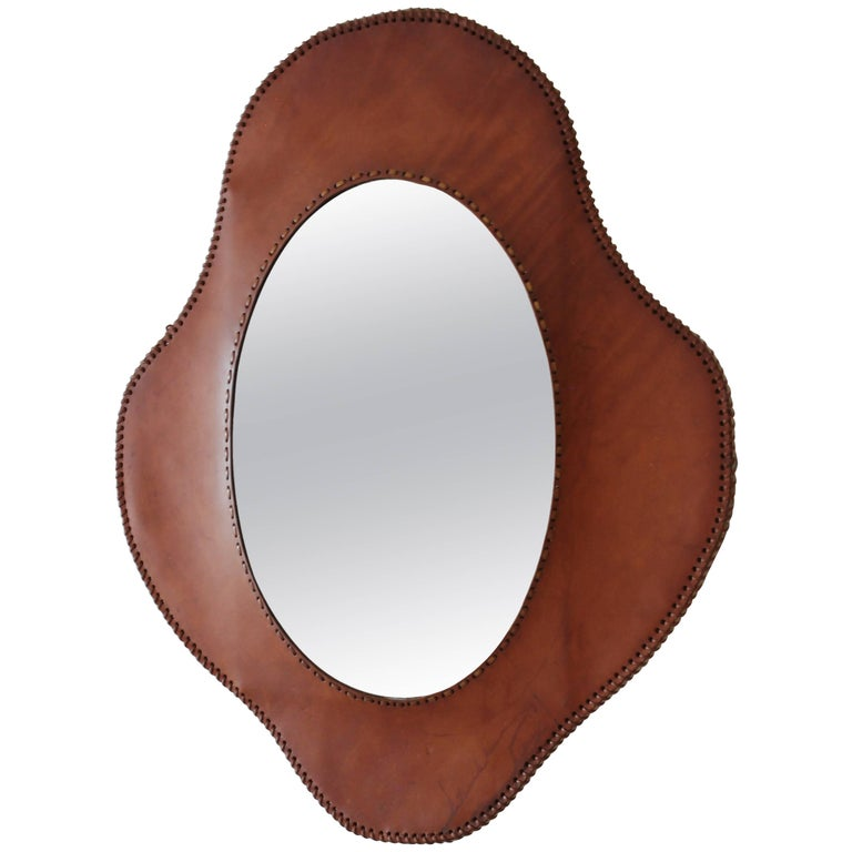 Jacques Adnet Style Mirror For Sale