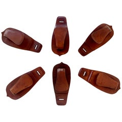 Jacques Adnet Style Saddle Leather Hooks