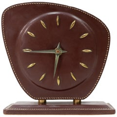 Jacques Adnet  Stitched Leather Desk Clock