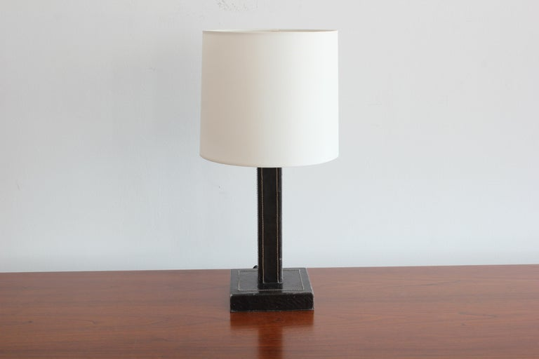 Jacques Adnet style table lamp Black leather with contrast stitching New shade and newly rewired.