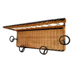Jacques Adnet Style Wicker and Iron Coat Rack