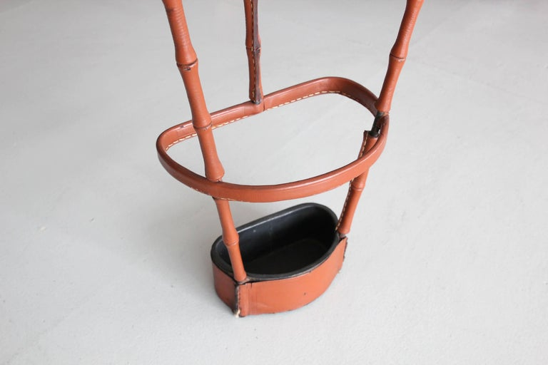 Leather Jacques Adnet Umbrella Stand For Sale