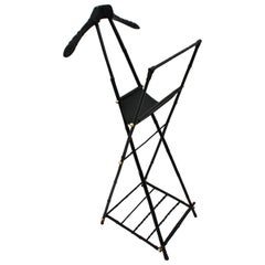 Jacques Adnet Valet in Ebonized Bamboo, Black Leather and Brass