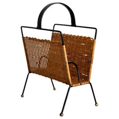 Jacques Adnet Wicker Magazine Rack
