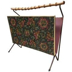 Jacques Adnet Wood and Painted Metal Magazine Rack, Flowers Decor, French 1960s