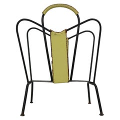 Jacques Adnet Yellow Leather and Black Iron Magazine Rack, 1950, France