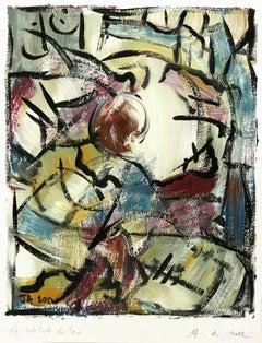 French Abstract Painting - La Solitude du Toro (Bull's Solitude)
