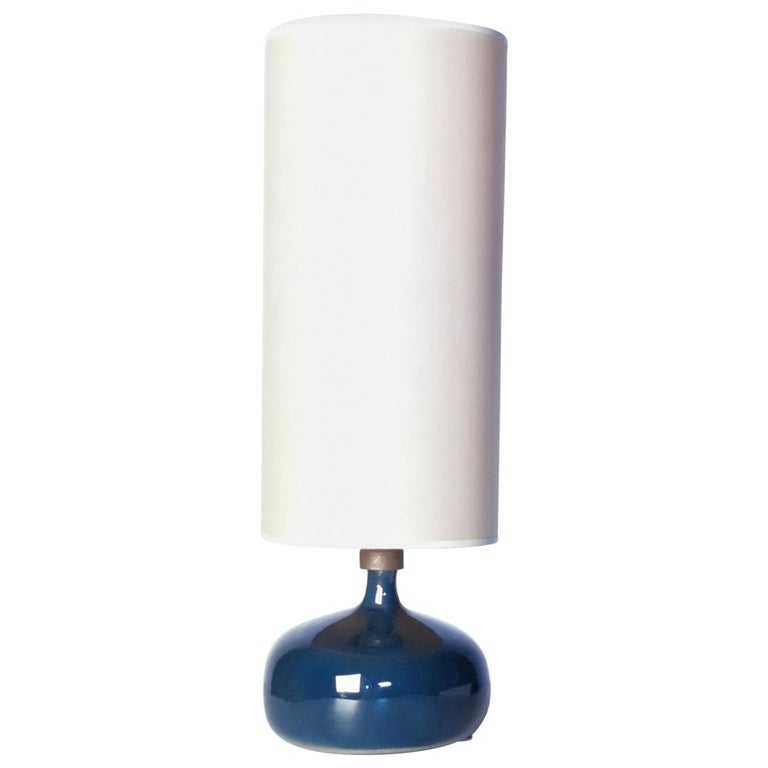 Jacques and Dani Ruelland, Dark Blue Enameled Table Lamp, 1960s For Sale