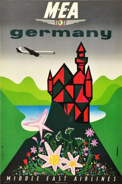 Original Vintage Travel Poster Germany Middle East Airlines BOAC Mountains Lake