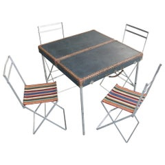Jacques Biny Picnic Table and Chairs in Suitcase France 1950s by Kiss Ply