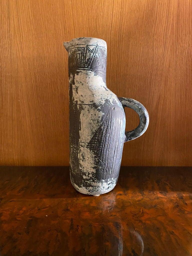 Jacques Blin ceramic jug, France, 1960s. Enameled ceramic, signed.