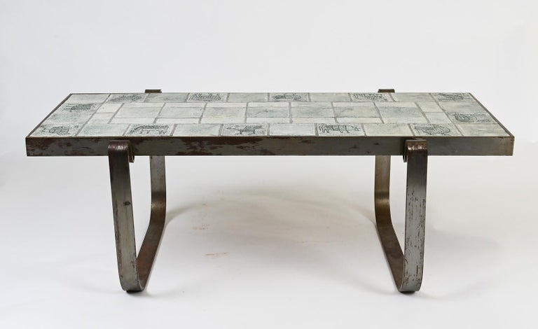 Mid-20th Century Jacques Blin Ceramic Low Table For Sale