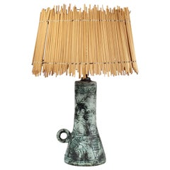 Jacques Blin Ceramic Table Lamp Original Straw Shade, 1950s, France