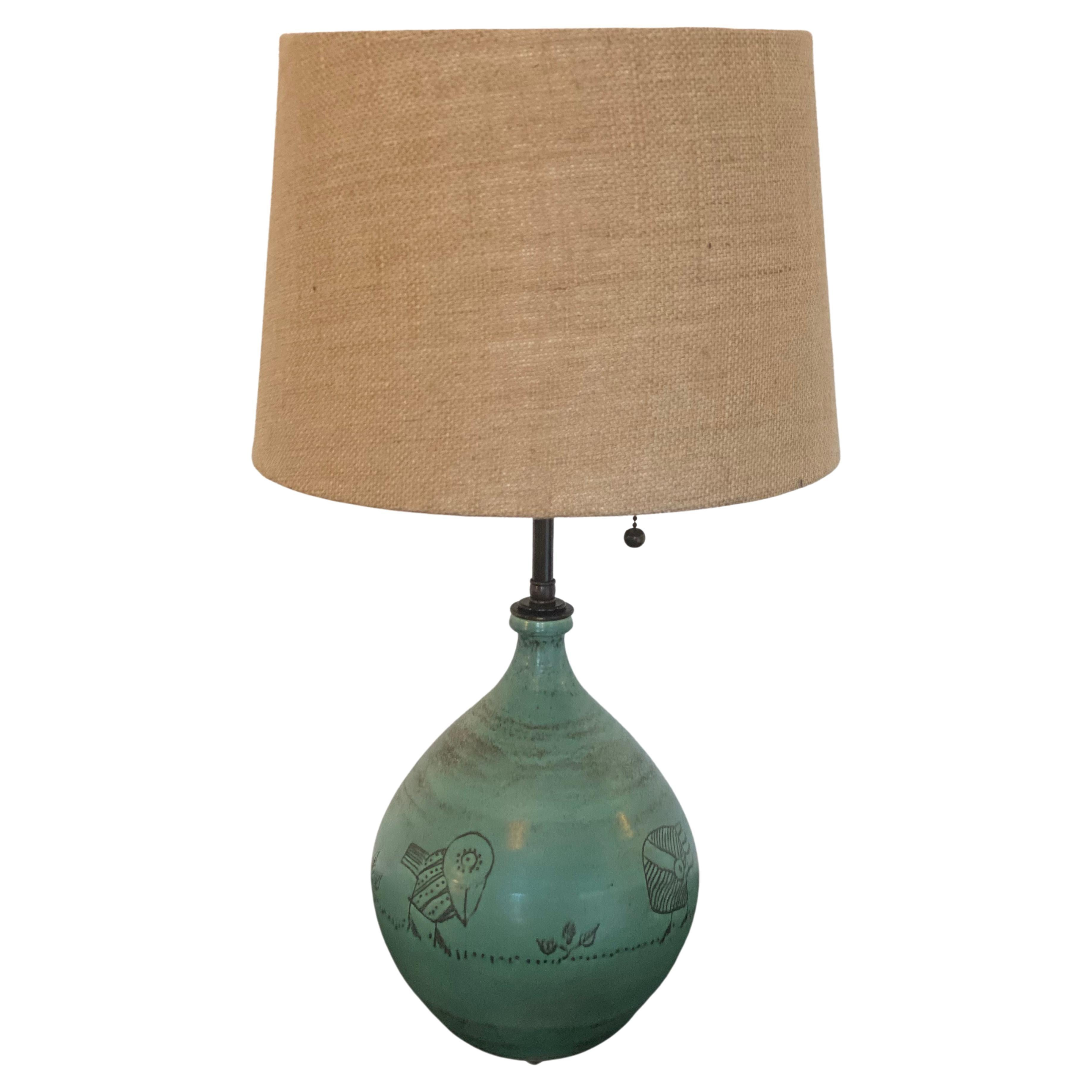 Jacques Blin French Art Pottery 1960s Table Lamp