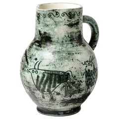 Jacques Blin Original Ceramic Pitcher with Animal Decoration Green and White