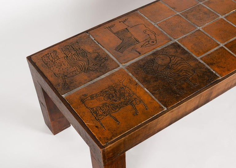 Mid-Century Modern Jacques Blin, Rectangular Tiled Coffee Table, Oak and Ceramic, France circa 1970 For Sale