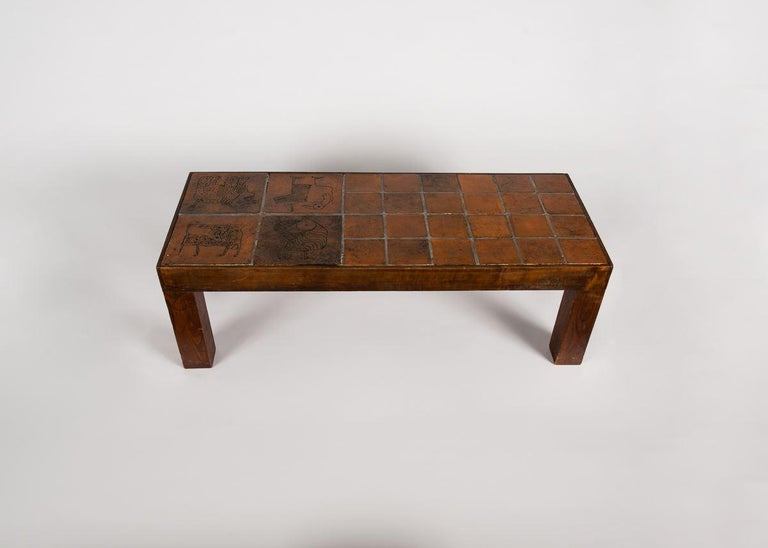 French Jacques Blin, Rectangular Tiled Coffee Table, Oak and Ceramic, France circa 1970 For Sale