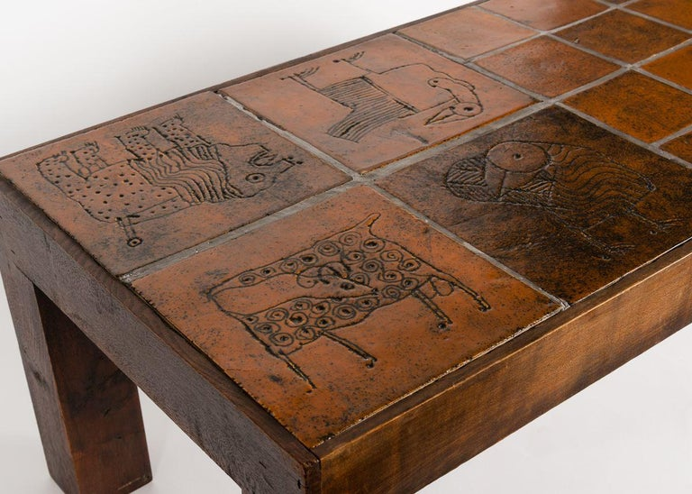 Jacques Blin, Rectangular Tiled Coffee Table, Oak and Ceramic, France circa 1970 In Good Condition For Sale In New York, NY