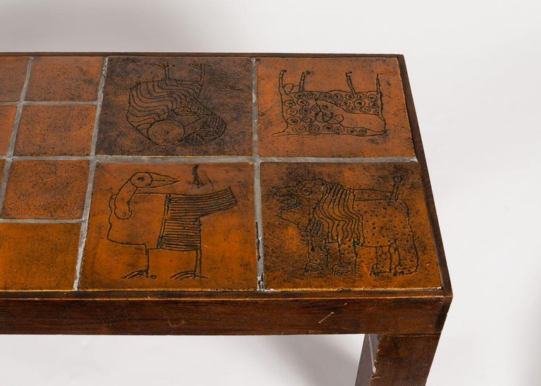 Late 20th Century Jacques Blin, Rectangular Tiled Coffee Table, Oak and Ceramic, France circa 1970 For Sale