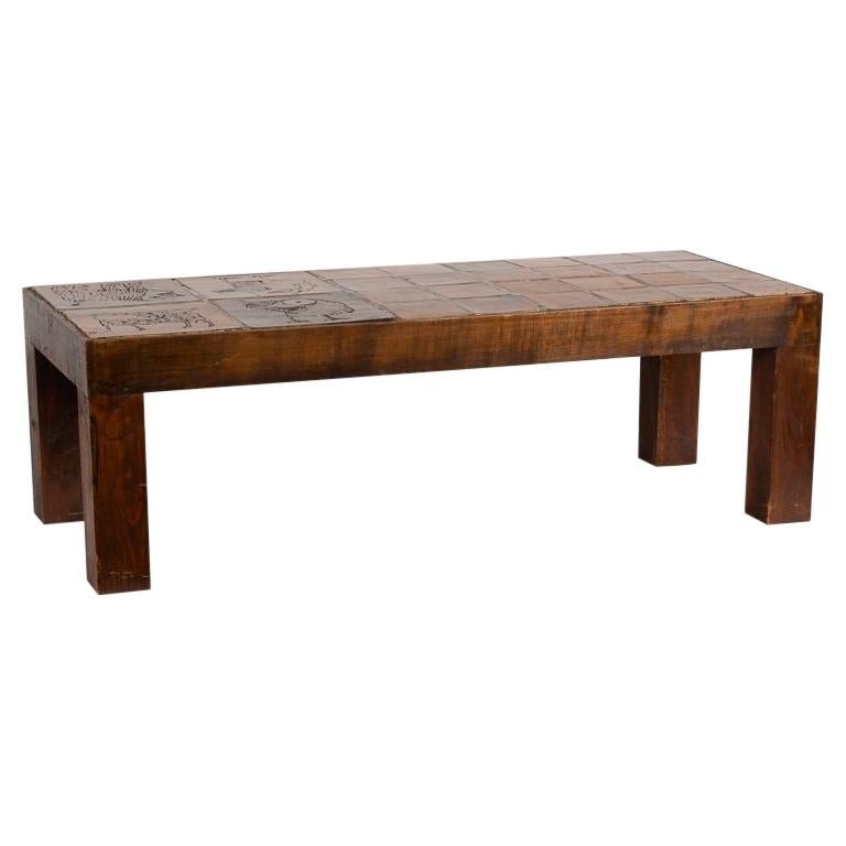 Jacques Blin, Rectangular Tiled Coffee Table, Oak and Ceramic, France circa 1970 For Sale