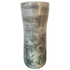 Jacques Blin Signed Large Green Ceramic Vase, Incised Decor, French, 1960s