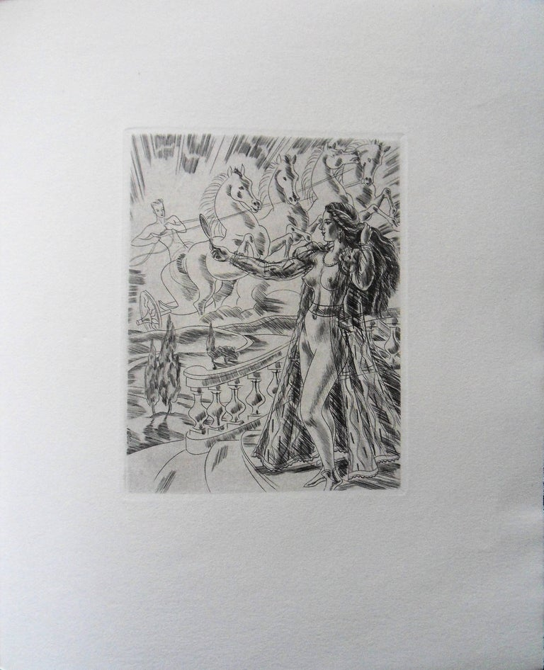 Mythological Beauty - Original etching, 1943 - Modern Print by Jacques Boullaire