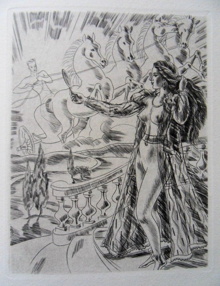 Jacques Boullaire Figurative Print - Mythological Beauty - Original etching, 1943