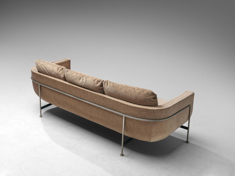 Mid-Century Modern Jacques Brule Sofa with Metal Frame For Sale