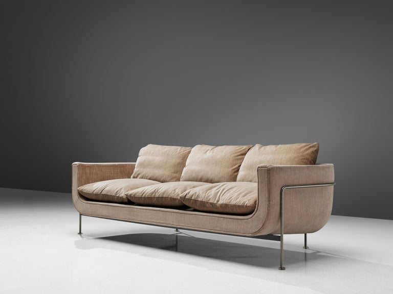 Jacques Brule Sofa with Metal Frame In Good Condition For Sale In Waalwijk, NL