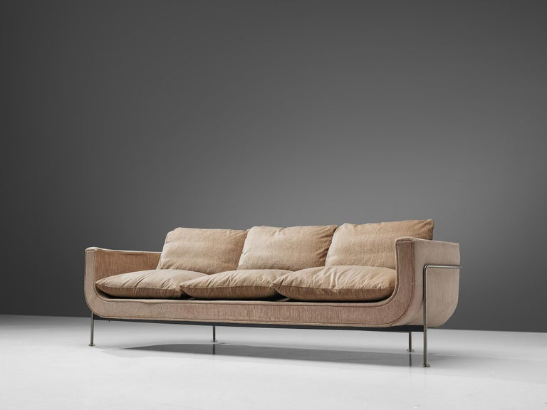Mid-20th Century Jacques Brule Sofa with Metal Frame For Sale