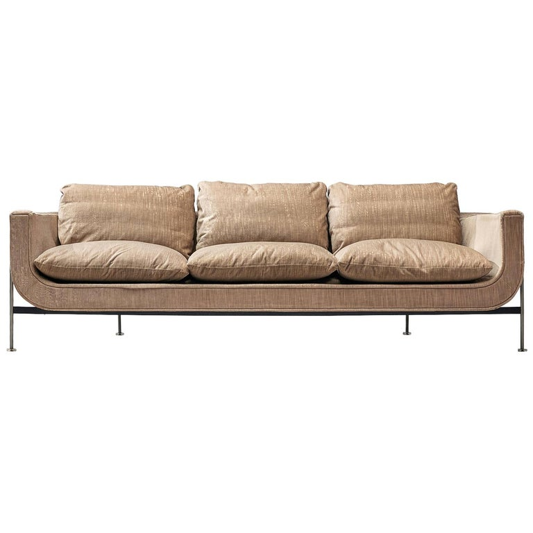 Jacques Brule Sofa with Metal Frame For Sale