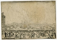 Fireworks on river Arno in Florence. by Jacques Callot - Etching - 17th Century