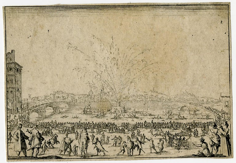 Subject:  Antique Master Print, untitled.  - Fireworks on the river Arno in Florence.  Description:  From the Florence set. Ref: L 258/ M 856.  Artists and Engravers:  Made by 'Jacques Callot' after own design. Jacques Callot (Nancy 1592-1635) was a