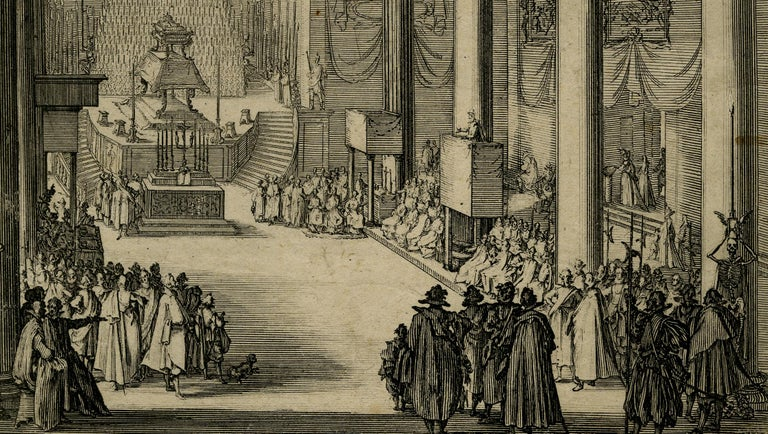 Funeral of Matthias I in Florence by Jacques Callot - Etching - 17th Century For Sale 2