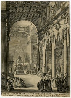 Funeral of Matthias I in Florence by Jacques Callot - Etching - 17th Century