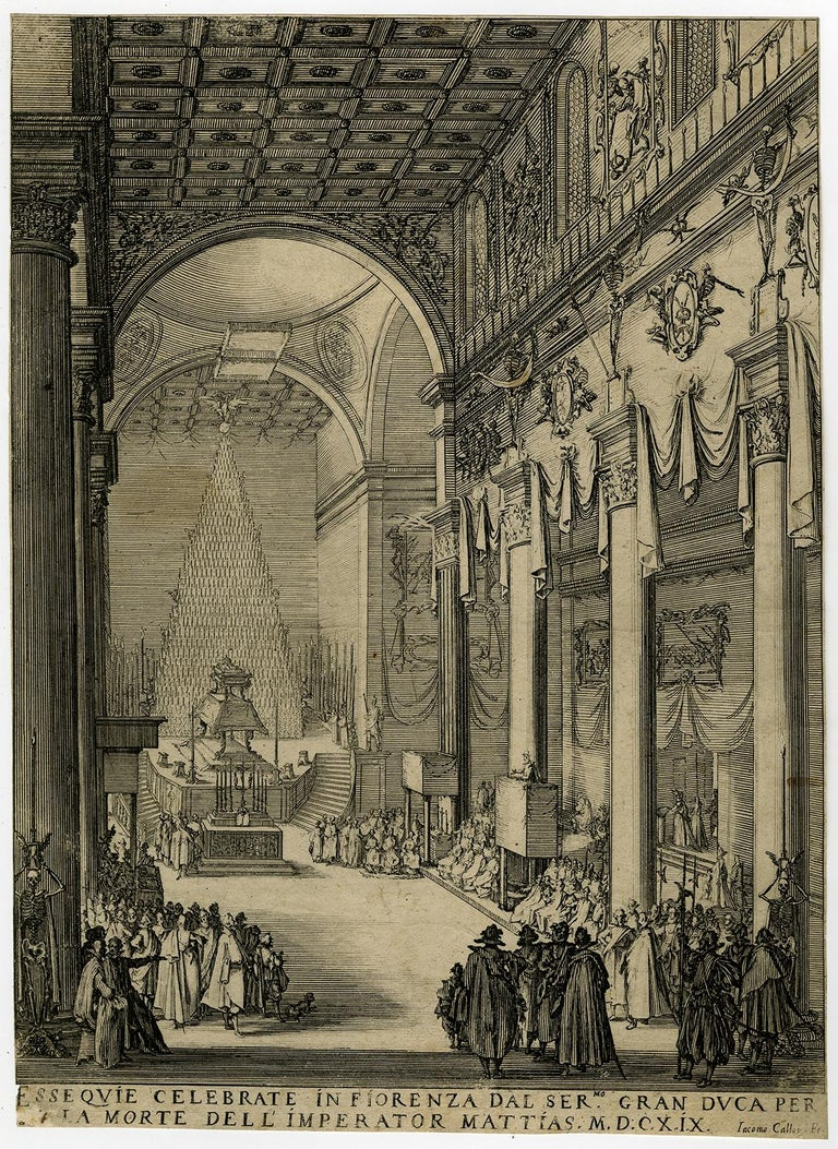 Subject:  Antique Master Print, titled: 'Esse quie celebrate in fiorenza [..]' - The funeral of Matthias I, emperor of the Holy Roman empire, in the church of San Lorenzo in Florence.  Description:  Source unknown, to be determined. State: Second