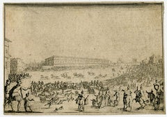 Horserace - Palazzo Pitti in Florence by Jacques Callot - Etching - 17th Century