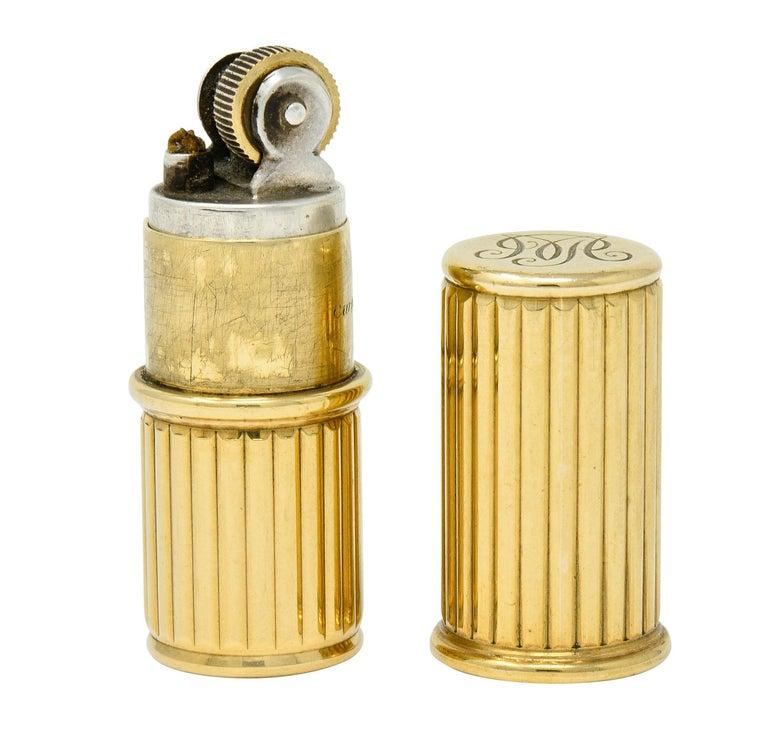Jacques Cartier Art Deco 9 Karat Gold Functional Ribbed Lighter For Sale 6