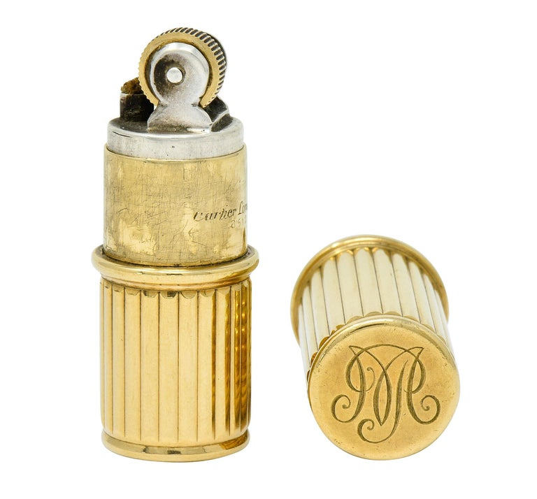 Jacques Cartier Art Deco 9 Karat Gold Functional Ribbed Lighter For Sale 4