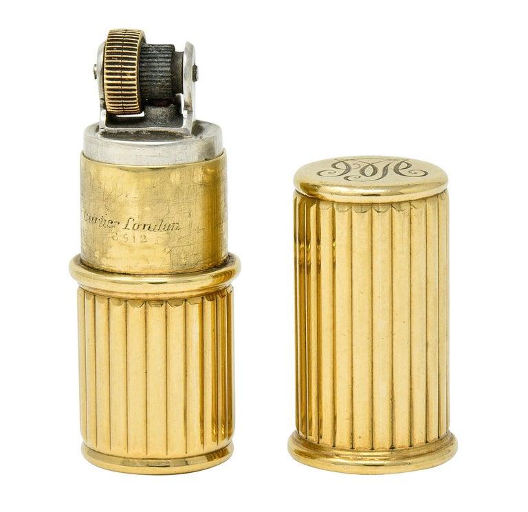 Jacques Cartier Art Deco 9 Karat Gold Functional Ribbed Lighter For Sale 5