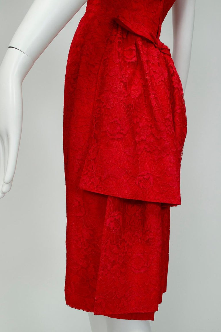 Jacques Cassia Haute Couture Plunge Back Bustle Dress, 1960s For Sale 5
