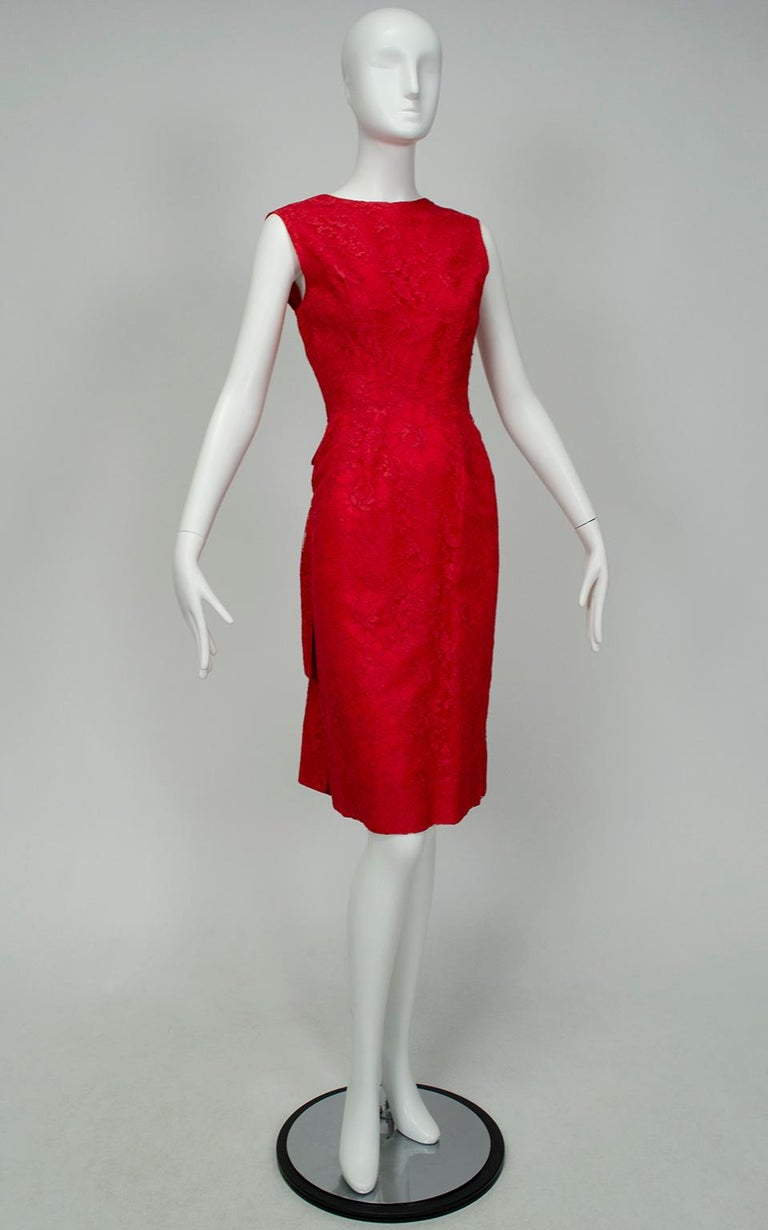 Red Jacques Cassia Haute Couture Plunge Back Bustle Dress, 1960s For Sale