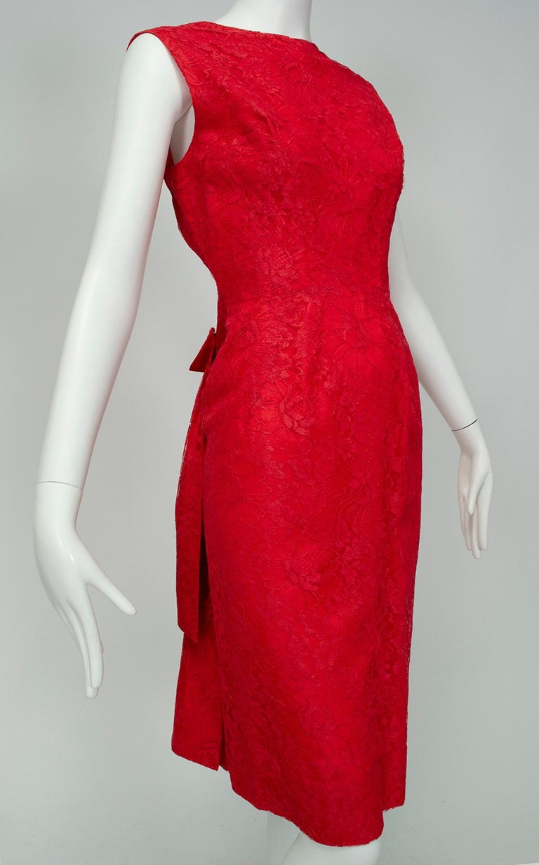 Jacques Cassia Haute Couture Plunge Back Bustle Dress, 1960s In Good Condition For Sale In Phoenix, AZ