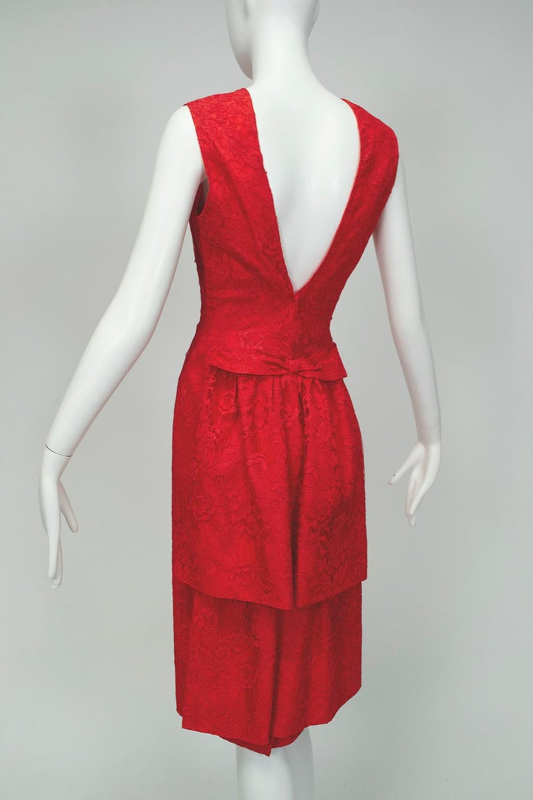 Women's Jacques Cassia Haute Couture Plunge Back Bustle Dress, 1960s For Sale