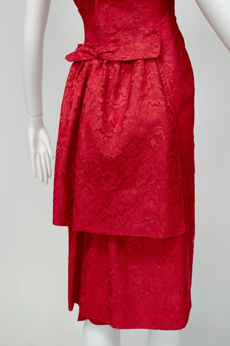 Jacques Cassia Haute Couture Plunge Back Bustle Dress, 1960s For Sale 4