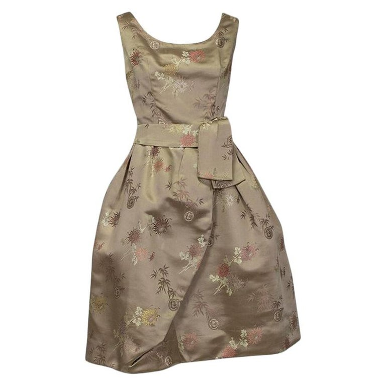Jacques Cassia Haute Couture Taupe Brocade Corolle Tulip Skirt Dress - S, 1960s For Sale
