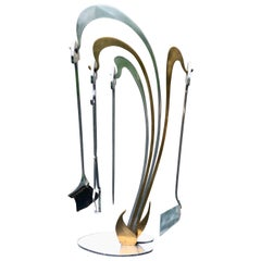Jacques Charles Fireplace Tools Brass and Chrome Wave Design