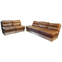 Jacques Charpentier Leather Lounge Sofa and Chairs 1970 France Roche Bobois