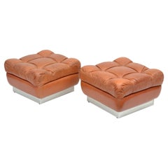 Jacques Charpentier Mid-Century Modern Tufted Leather Ottoman Stool Pair